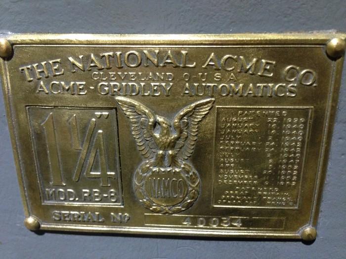 "ACME-GRIDLEY 1-1/4"" RB-8"
