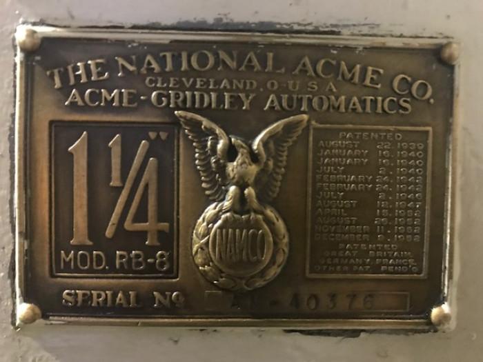 "ACME-GRIDLEY 1/4"" RB-8"